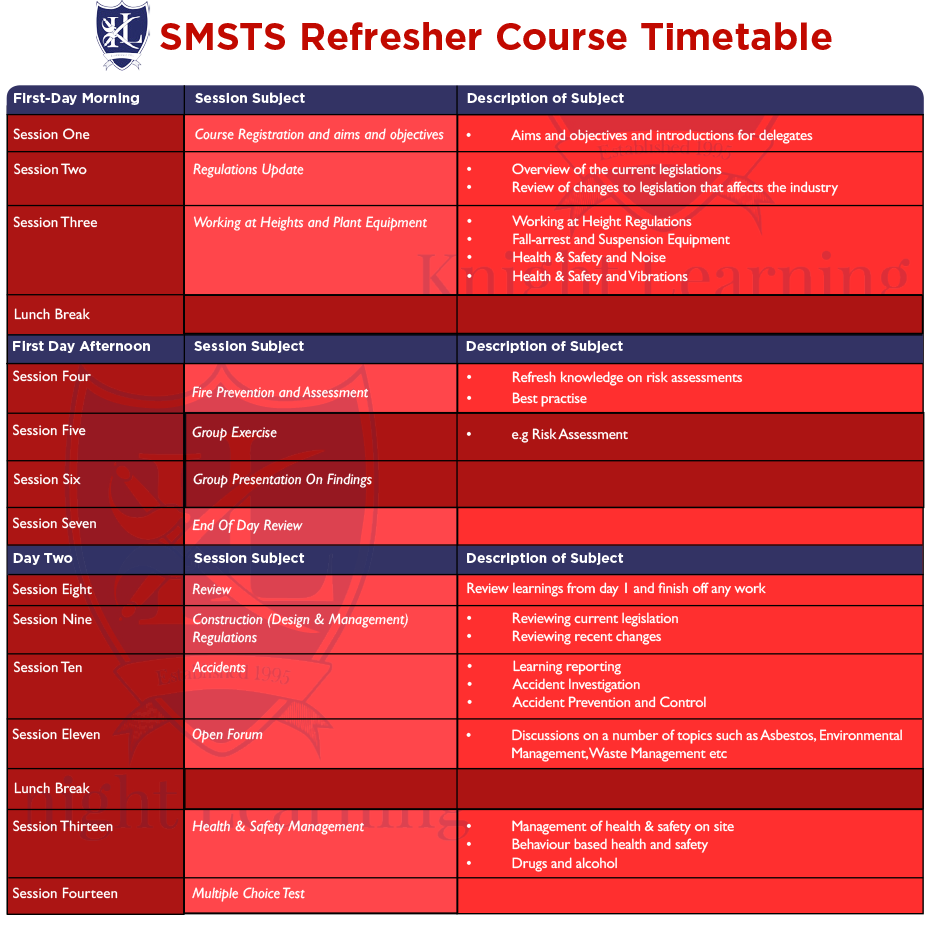 smsts-refresher-course-timetable
