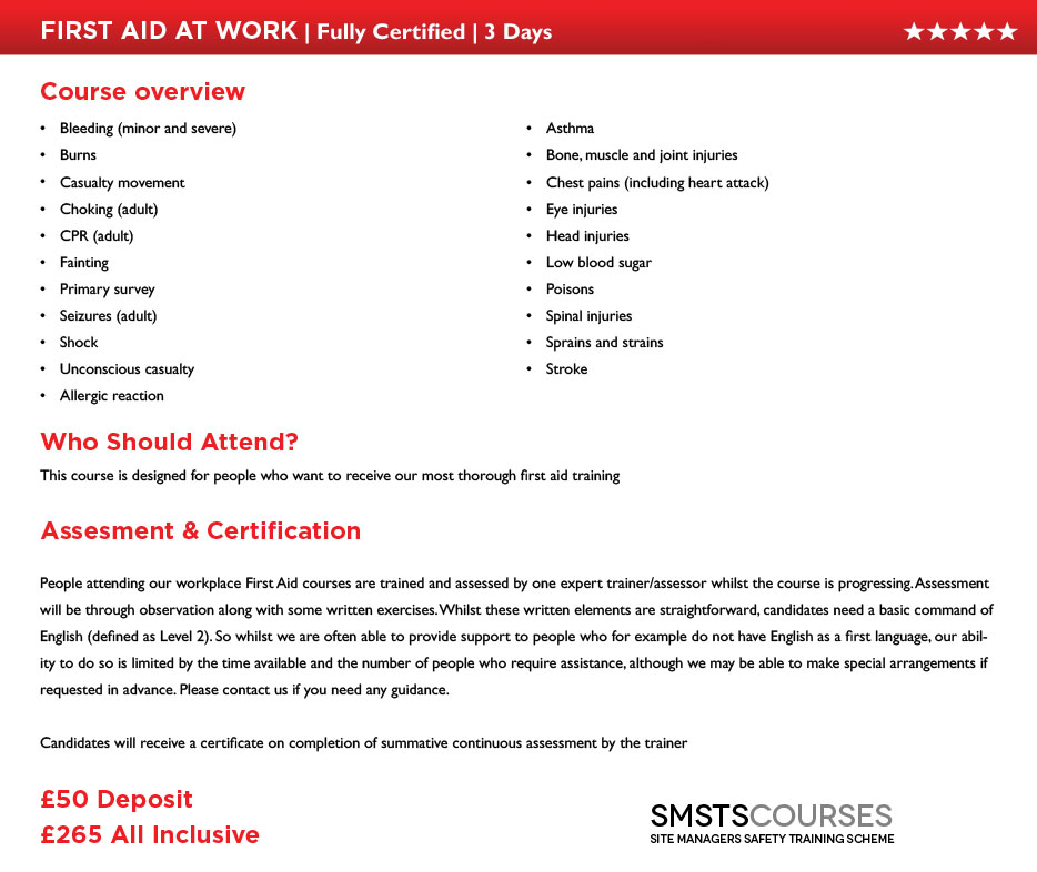 3 Day Detailed for First Aid At Work Aberdeen